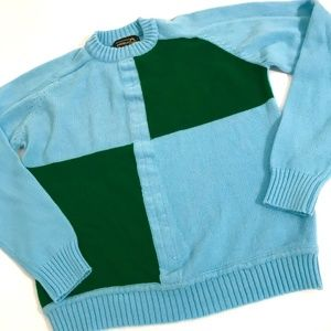 vtg sweater blue green color block crew neck